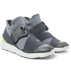 Christopher Kane Neoprene, Leather and Rubber High-Top Sneakers