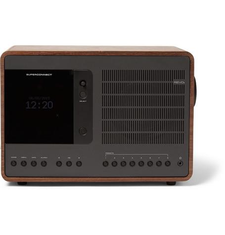 REVO Superconnect Walnut And Aluminium Wifi/Dab/Dab+/Fm Table Radio in Brown
