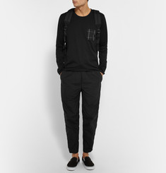 Aloye + Beams Checked Poplin-Panelled Cotton-Jersey T-Shirt