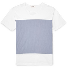 Aloye + Beams Striped Poplin-Panelled Cotton-Jersey T-Shirt