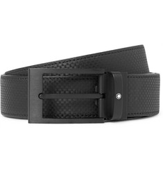 Montblanc 3.5cm Black Checked Leather Belt