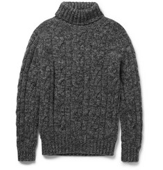 Kingsman Cable-Knit Wool and Cashmere-Blend Rollneck Sweater