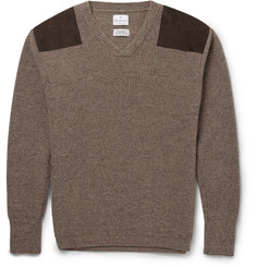 Kingsman - Suede-Trimmed Wool Sweater