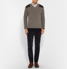 Kingsman Suede-Trimmed Wool Sweater
