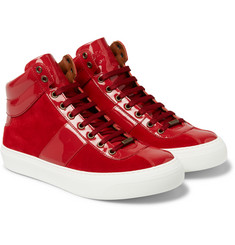Jimmy Choo - Belgravia Patent-Leather and Suede High-Top Sneakers