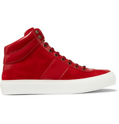 Jimmy Choo Belgravia Patent-Leather and Suede High-Top Sneakers