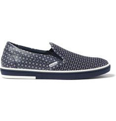 Jimmy Choo Grove Jacquard and Printed Leather Slip-On Sneakers