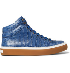 Jimmy Choo - Belgravia Croc-Effect Leather High-Top Sneakers