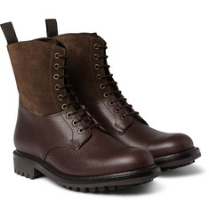 Grenson Samuel Cross-Grain Leather and Suede Boots