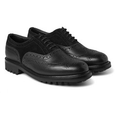 Grenson - Albert Cross-Grain Leather and Suede Wingtip Brogues