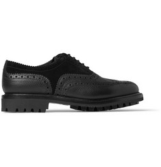 Grenson Albert Cross-Grain Leather and Suede Wingtip Brogues