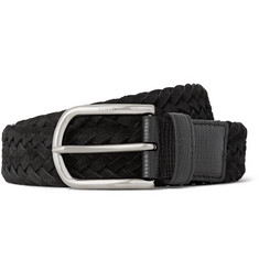 Tod's - 3.5cm Black Cross-Grain Leather-Trimmed Woven Suede Belt