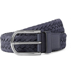 Tod's - 3.5cm Navy Woven Suede and Cross-Grain Leather Belt
