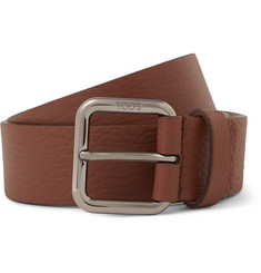 Tod's 3.5cm Brown Full-Grain Leather Belt