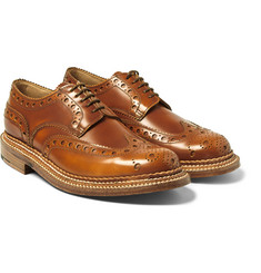 Grenson - Archie Triple-Welted Polished-Leather Wingtip Brogues