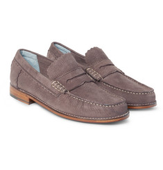 Grenson - Ashley Pebble-Grain Nubuck Penny Loafers