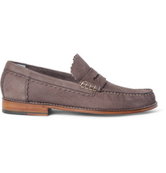 Grenson Ashley Pebble-Grain Nubuck Penny Loafers