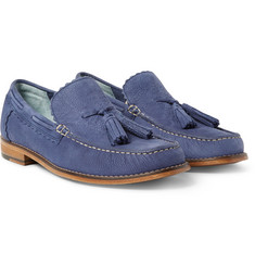 Grenson - Grayson Tasselled Pebble-Grain Nubuck Loafers