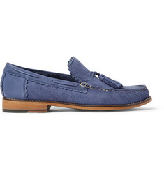Grenson Grayson Tasselled Pebble-Grain Nubuck Loafers