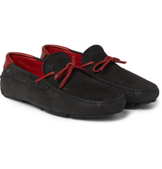 Tod's - + Ferrari Leather-Trimmed Nubuck Driving Shoes