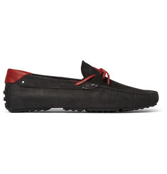 Tod's + Ferrari Leather-Trimmed Nubuck Driving Shoes
