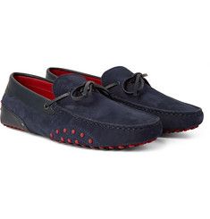 Tod's - + Ferrari Gommino Leather-Trimmed Nubuck Driving Shoes