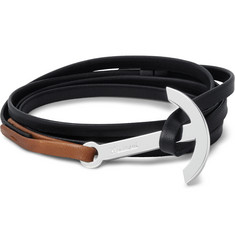 Miansai Modern Two-Tone Leather and Silver-Plated Anchor Wrap Bracelet
