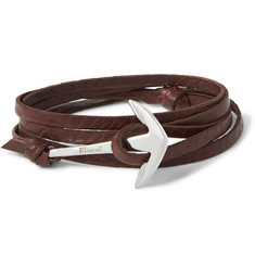 Miansai Grained-Leather and Silver-Plated Anchor Wrap Bracelet