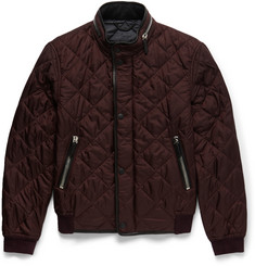 Burberry Prorsum - Leather-Trimmed Quilted Shell Bomber Jacket