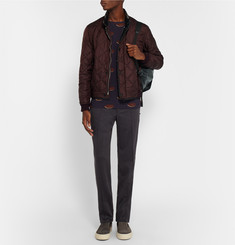 Burberry Prorsum Leather-Trimmed Quilted Shell Bomber Jacket