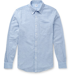 Aspesi Slim-Fit Button-Down Collar Cotton-Seersucker Shirt