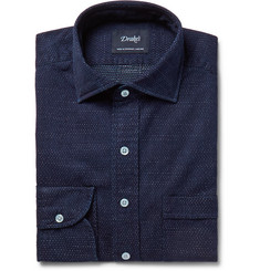 Drake's Navy Pin-Dot Cotton Shirt