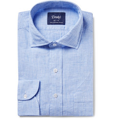Drake's - Blue Prince of Wales Checked Linen Shirt