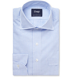 Drake's Striped Cotton and Linen-Blend Shirt