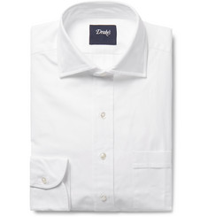 Drake's White Cutaway-Collar Cotton Oxford Shirt