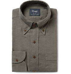 Drake's Green Slim-Fit Button-Down Collar Linen Shirt
