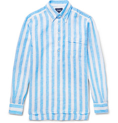 Drake's Button-Down Collar Striped Linen Shirt