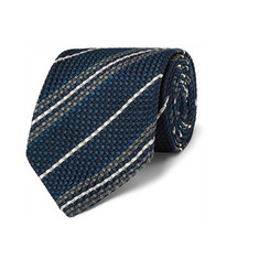 Drake's Striped Woven Silk Tie