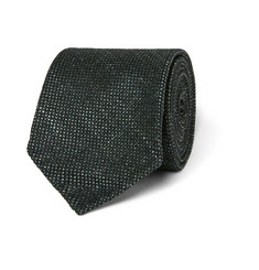 Drake's Birdseye Wool, Silk and Linen-Blend Tie