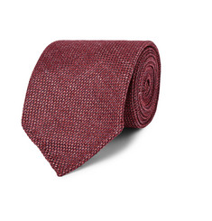 Drake's - Birdseye Wool, Silk and Linen-Blend Tie