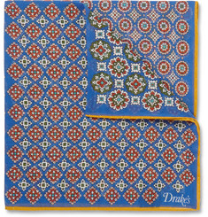 Drake's Medallion-Print Cotton and Silk-Blend Pocket Square