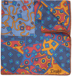 Drake's - Printed Silk Pocket Square