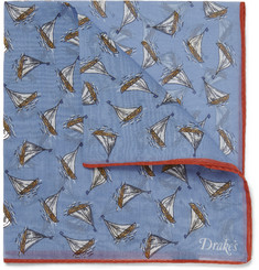 Drake's Yacht-Print Cotton and Silk-Blend Pocket Square
