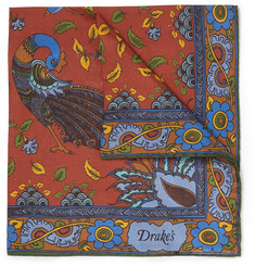 Drake's Paisley-Print Silk Pocket Square