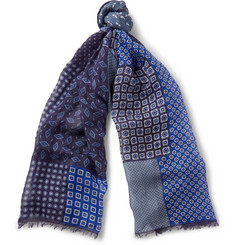 Drake's - Patchwork Printed Modal, Linen and Silk-Blend Scarf