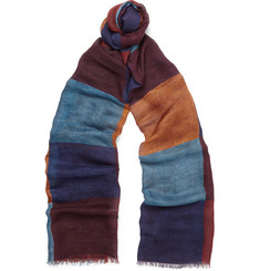 Drake's - Colour-Block Modal, Linen and Silk-Blend Scarf