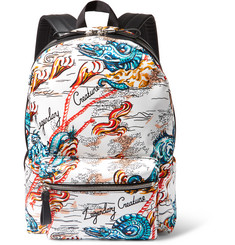 Alexander McQueen Leather-Trimmed Printed Canvas Backpack