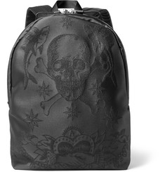 Alexander McQueen Tattoo-Jacquard Leather-Trimmed Nylon Backpack