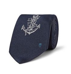 Alexander McQueen Embroidered Silk-Twill Tie