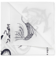 Alexander McQueen Printed Cotton Pocket Square